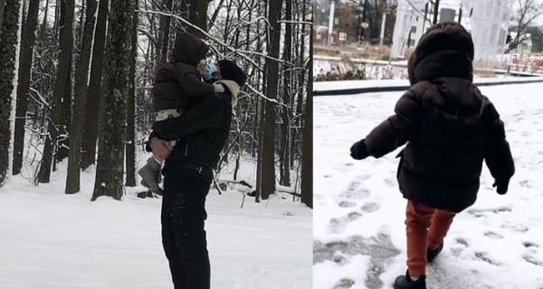 قصي خولي يحضن إبنه العميد بين الثلوج ويشعل إنستغرام